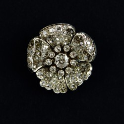 Gold Silver and Diamond Flower Brooch Set with Old Mine Cut Diamonds. Approx 3.73 carats c.1890.