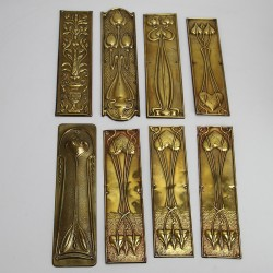 Arts and Crafts Brass Door Plates 12 in Total. (Circa 1900)