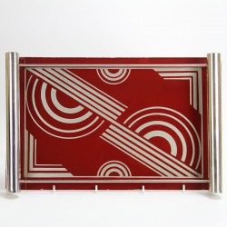 Art Deco Reverse Painted Glass and Chrome Cocktail Tray (c.1930)