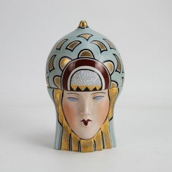 Robj Ceramic Art Deco Bonbonniere Decorated in Duck Egg Green, Maroon and Gold (c.1930)