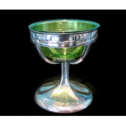 Archibald Knox for Liberty & Co Tudric pewter coupe with original Powell green glass liner. Stamped Tudric 0956. (c.1903)