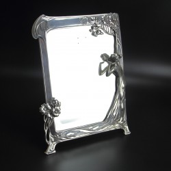 WMF Art Nouveau Silver Plated Toilet Mirror with Original Beveled Glass (c.1900)