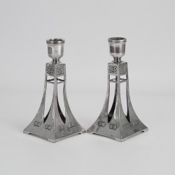 WMF Pair of Art Nouveau Secessionist Silver Plated Candlesticks (c.1906)