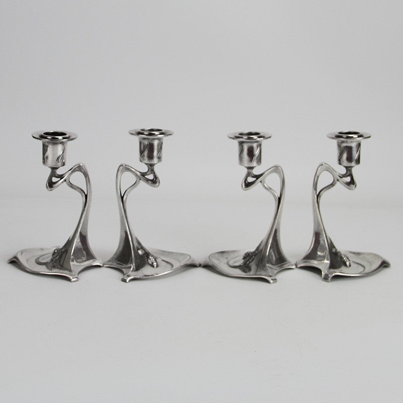 Two Pairs of WMF Art Nouveau Silver Plated Candlesticks (c.1906)