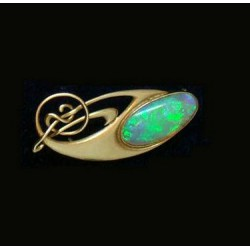 Genuine antique Archibald Knox for Liberty & Co fine gold and fire opal brooch (c.1903)