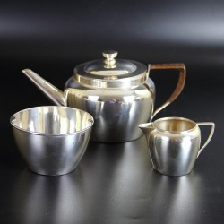 Christpoher Dresser by Hukin & Heath Silver Plated Picnic Teapot Creamer and Sugar (c.1880)