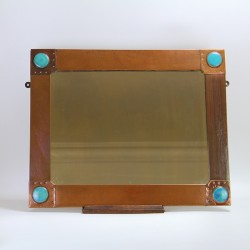 Arts and Crafts Rectangular Planished Copper Wall Mirror with Four Ruskin Roundels