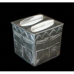 Archibald Knox for Liberty & Co pewter biscuit box. Stamped marks - model number 0237. (c.1903)