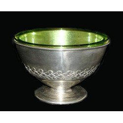 Archibald Knox for Liberty & Co pewter bowl with Powell Green Glass Liner, Stamped 0326 Rd 426656. (c.1903)