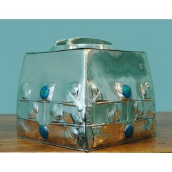 Archibald Knox for Liberty & Co pewter and enamel biscuit box. Stamped marks, Model number 0194 (c.1903)