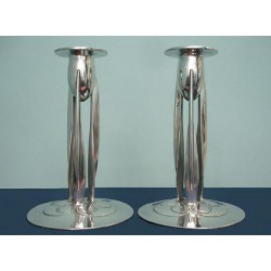 Archibald Knox for Liberty & Co pewter candlesticks. Stamped marks Model number 0223. (c.1903)