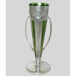 Archibald Knox for Liberty & Co Pewter Vase with Original Powell Glass Liner (c.1905)