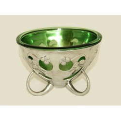 Archibald Knox for Liberty & Co pewter coupe with Powell green glass liner, Stamped Tudric. (c.1903)