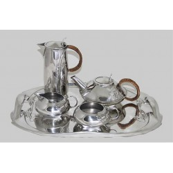 Archibald Knox for Liberty & Co pewter tea set and Tray.  Stamped marks - Tudric 0231. (c.1903)