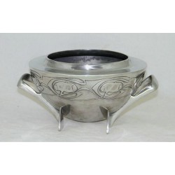 Antique Archibald Knox for Liberty & Co pewter rose bowl. Stamped marks - Tudric 0229. (c.1903)