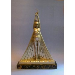 Georges Lavroff 'Girl with Stars' patinated bronze sculpture. Signed to bronze cape (c.1925)