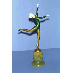 Stefan Dakon Dancer bronze and ivory sculpture on onyx base, Signed by Dakon (in Bronze). (c.1930)