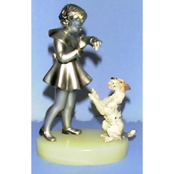 Josef Lorenzl Girl with a Dog Bronze. Unsigned (c.1930)