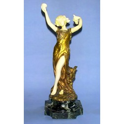 T. H. Somme Bronze and Ivory Figure. Signed to Bronze (c.1925)