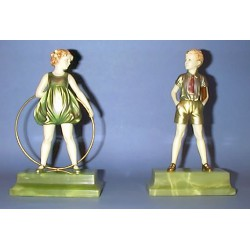 Ferdinand Preiss Sonny Boy and Girl with a Hoop Figures (c.1930)