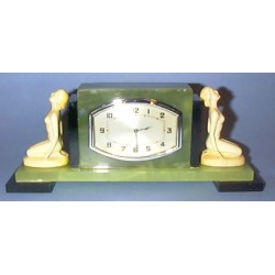 Ferdinand Preiss onyx table clock with ivory figures. Working order with minor nicks/cracks. Signed to back F. Preiss (c.1925)