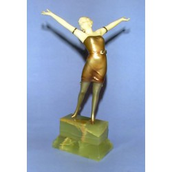 Rare genuine Josef Lorenzl Erotic Cabaret Girl Bronze and Ivory figure. Signed to base (c.1930)