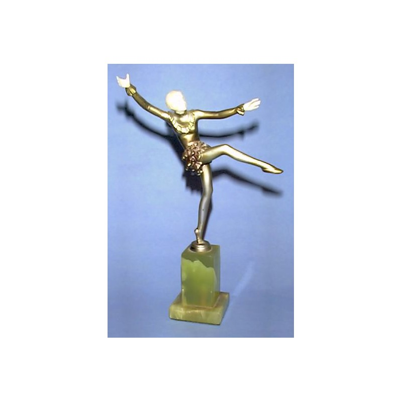 Josef Lorenzl Dancer Bronze and Ivory Figure. Signed to Socle (c.1930)