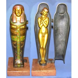Bergman Bronze Girl in Mummy Case Mint Condition. Signed NAM GREB & AMPHORA. Mark to rear of case (c.1920)