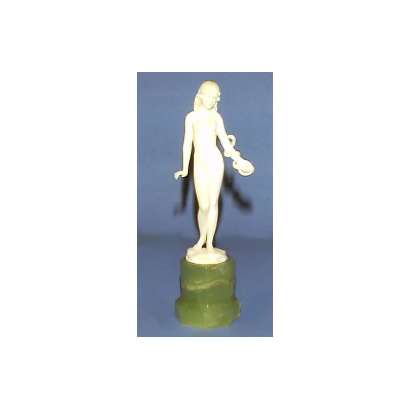 Ferdinand Preiss 'Girl with a Snake' Ivory Figure. Mint condition. Signed to Ivory. (c.1930)