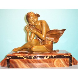 Armand Godard Beach Girl Bronze Figure. Signed to base (c.1925)