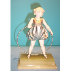Ferdinand Preiss Hoop Girl bronze and ivory figure. Signed to base (c.1930)