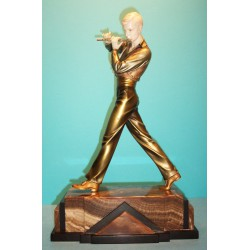 Ferdinand Preiss Flute Player bronze and ivory figure. Signed to base (c.1930)