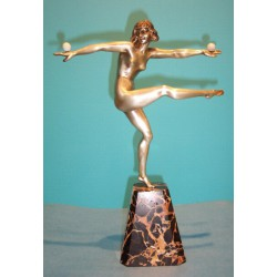 Marcel Andre Bouraine Dancer figure bronze with ivory balls. Signed to base (c.1920)