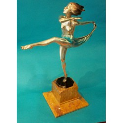 Josef Lorenzl Scarf Dancer cold painted and silvered bronze. Signed in the bronze socle & Argentor Foundry mark (c.1925)