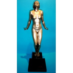 Ferdinand Preiss The Sun Worshipper bronze figure. Signed to base and PK monogram on the bronze (c.1930)