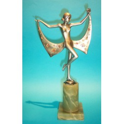 Josef Lorenzl Female Holding a Floral Drape cold painted bronze. Signed to bronze (c.1930)