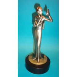 Josef Lorenzl Lady with Lipstick Bronze Figure. Signed to base (c.1930)