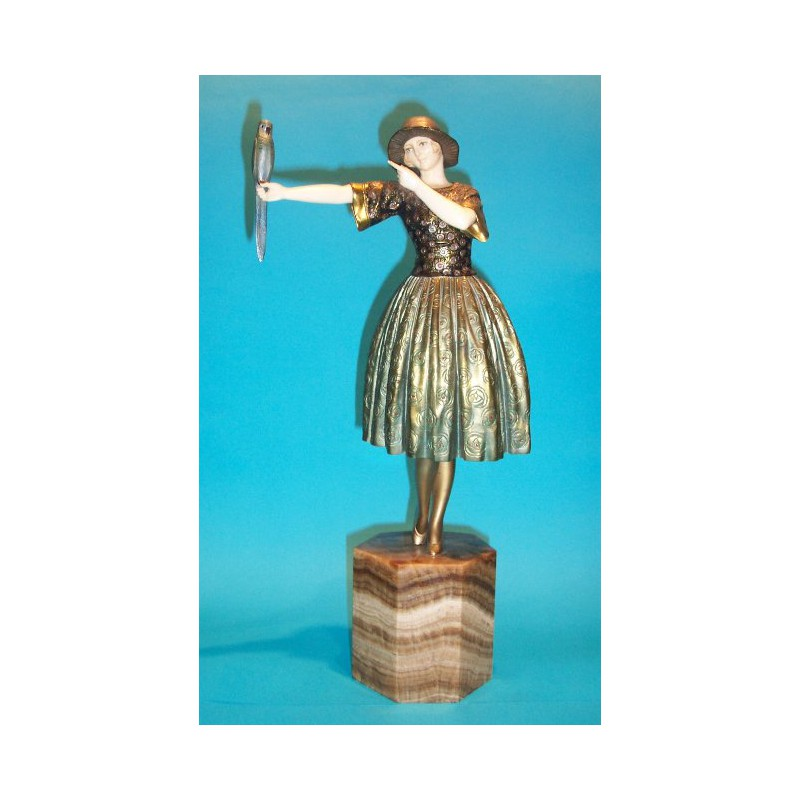 D. H. Chiparus Indiscreet bronze and ivory female figure. Signed to base (c.1925)