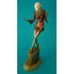 Josef Lorenzl Red Dancer bronze and ivory figure. Signed to shoe (c.1930)