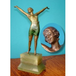 Josef Lorenzl Dancer in Green Camisole Bronze Figure (c.1930)