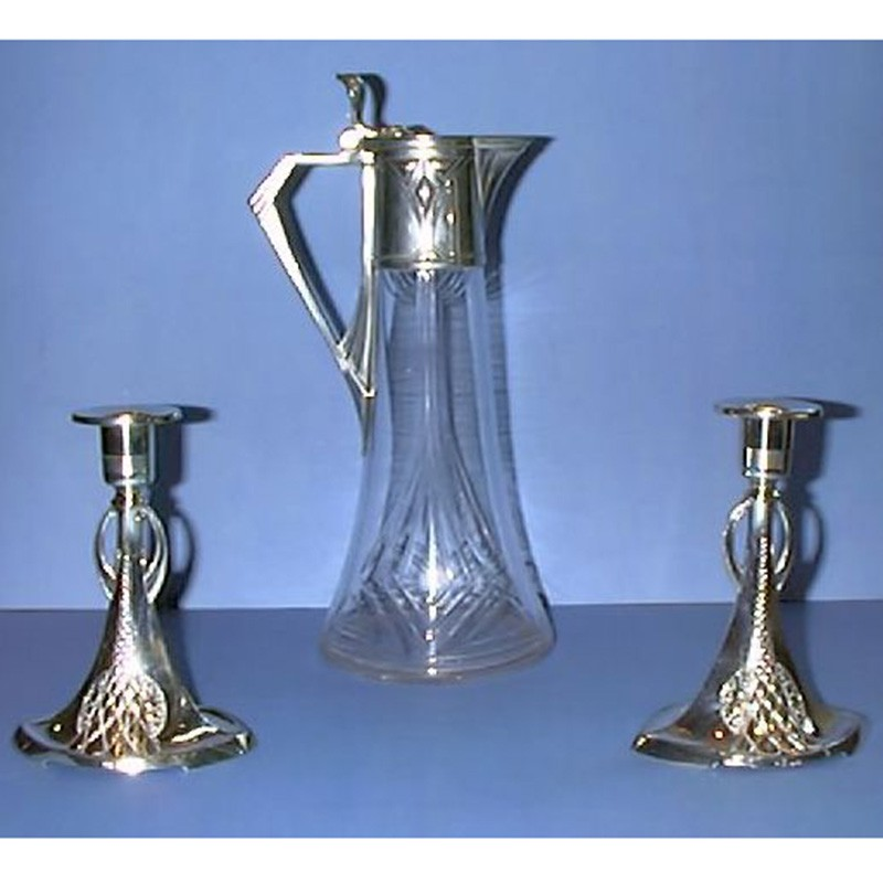 Pair of antique WMF silver plated pewter candlesticks and decanter (c.1904)