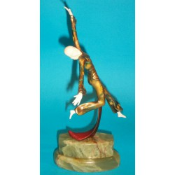 Josef Lorenzl Leaping Female in Floral Costume bronze and ivory figure. Signed to scarf - Lor (c.1930)