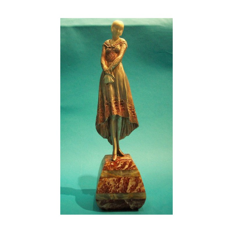 Samuel Lypchytz (Lipchytz) Woman in a Gown bronze and ivory figure. Signed to dress (c.1925)