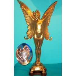 Louis Chalon Butterfly Girl gilt bronze figure. Signed to bronze plus Paris and foundry mark, French (c.1900)