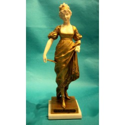 G Obiols A Compiggne bronze and ivory female figure. Signed to base (c.1900)