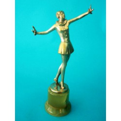 Josef Lorenzl Female Dancer bronze figure. Signed to bronze socle (c.1930)