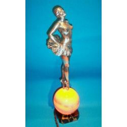 Charles Henri Molins Dancer Bronze Figural Lamp with Illuminated Sphere (c.1925)