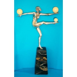 Le Faguays Female Ball Dancer with Ivory Balls Bronze and Ivory Figure. French (c.1925)