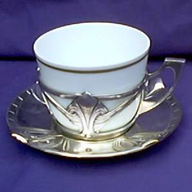 Set of six antique WMF silver plate and porcelain cups and saucers. Stamped marks (c.1905)