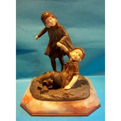 D. H. Chiparus Two Sisters Playing Bronze and Ivory Figures with Onyx Platform (c.1920)